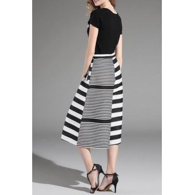 Top and Striped Wide Leg Pants Twinset