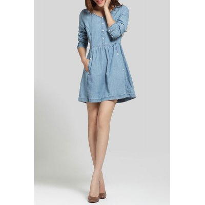 High Waist Button Embellished Denim DressDesigner Dresses<br>High Waist Button Embellished Denim Dress<br><br>Style: Cute<br>Occasion: Causal,Work<br>Material: Cotton<br>Composition: 100% Cotton<br>Silhouette: A-Line<br>Dresses Length: Mini<br>Neckline: Jewel Neck<br>Sleeve Length: Long Sleeves<br>Pattern Type: Solid<br>With Belt: No<br>Season: Spring,Summer<br>Weight: 0.270kg<br>Package Contents: 1 x Dress