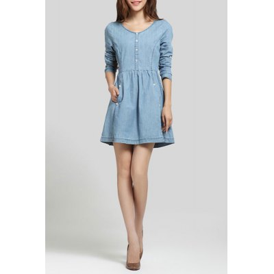 Size Zipper Button Decorated Denim Dress