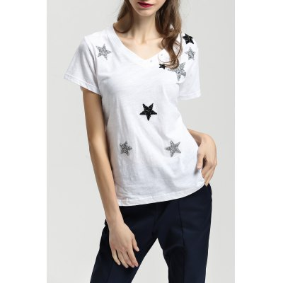 V Neck Cotton Tee With Star Pattern