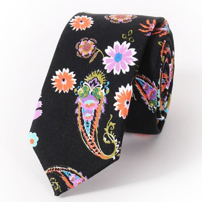 Stylish Handpainted Flower and Paisley Print Wedding Casual Party Black Tie For Men