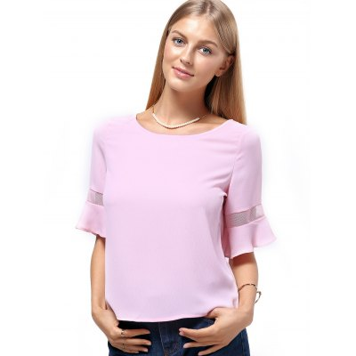 Sweet 1/2 Sleeve Jewel Neck Pure Color Spliced Womens T-ShirtTees<br>Sweet 1/2 Sleeve Jewel Neck Pure Color Spliced Womens T-Shirt<br><br>Material: Polyester<br>Fabric Type: Chiffon<br>Clothing Length: Regular<br>Sleeve Length: Half<br>Collar: Jewel Neck<br>Style: Fashion<br>Season: Summer<br>Pattern Type: Solid<br>Weight: 0.200kg<br>Package Contents: 1 x T-Shirt