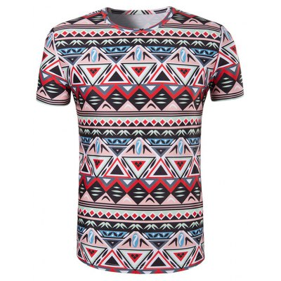 3D Geometry Printed Round Neck Short Sleeve T-Shirt For Men