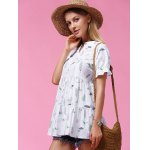 Sweet Short Sleeve Plant Print Flounced Women's Blouse for sale