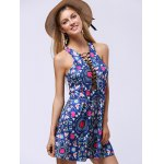 Ladylike Lace-Up Racerback Floral Women's Flare Dress deal