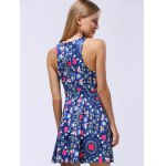 Ladylike Lace-Up Racerback Floral Women's Flare Dress for sale