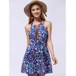 cheap Ladylike Lace-Up Racerback Floral Women's Flare Dress