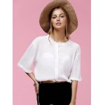 cheap Sweet Half Sleeve Round Neck Ruffled Women's Chiffon Blouse