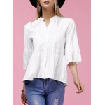 Sweet V-Neck Buttoned Flare Sleeve White Shirt For Women