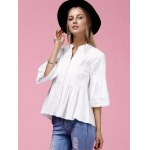 cheap Sweet V-Neck Buttoned Flare Sleeve White Shirt For Women