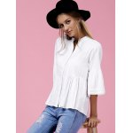 Sweet V-Neck Buttoned Flare Sleeve White Shirt For Women deal
