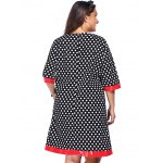 Fashion Round Neck Polka Dot Splicing Plus Size Dress For Women for sale
