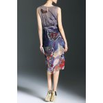 cheap A-Line Printed Silk Dress