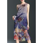 A-Line Printed Silk Dress