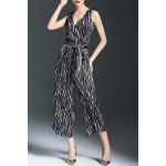 Loose Belted Striped Wide Leg Jumpsuit for sale