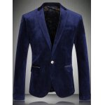 One Button Corduroy Flap Pocket Long Sleeves Blazer For Men
