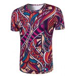 cheap Slimming Collarless National Style Printing Short Sleeves For Men