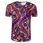 Slimming Collarless National Style Printing Short Sleeves For Men