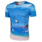 cheap Slimming Collarless Seaside Printing Short Sleeves For Men