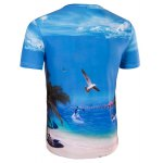 Slimming Collarless Seaside Printing Short Sleeves For Men deal