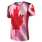 cheap Slimming Collarless Maple Leaf Printing Short Sleeves For Men