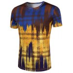 cheap Slimming Painting Collarless Short Sleeves For Men