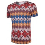 cheap Slimming National Style Printed Collarless Short Sleeves For Men
