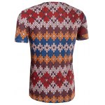 Slimming National Style Printed Collarless Short Sleeves For Men deal