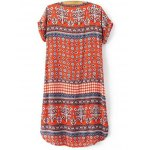 cheap Casual V-Neck Zip Front Printed Women's Dress