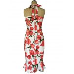 Chic Halter Mermaid Floral Print Backless Sheath Dress For Women deal