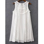 cheap Sweet Mix Lace Pleated Women's Dress