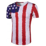 cheap Hot Sale 3D Stripes Printed Round Neck Short Sleeve T-Shirt For Men