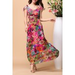 V Neck Floral Print Silk Beach Dress