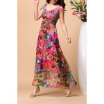 V Neck Floral Print Silk Beach Dress for sale