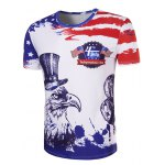 cheap Hot Sale 3D Owl Printed Round Neck Short Sleeve T-Shirt For Men