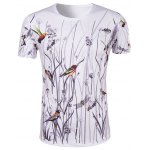 Hot Sale 3D Bird and Flower Printed Round Neck Short Sleeve T-Shirt For Men