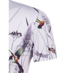 Hot Sale 3D Bird and Flower Printed Round Neck Short Sleeve T-Shirt For Men for sale