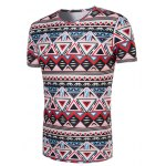 cheap 3D Geometry Printed Round Neck Short Sleeve T-Shirt For Men