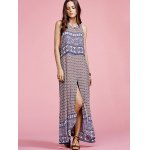 cheap Stylish Round Neck Sleeveless Ethnic Print Women's Maxi Dress