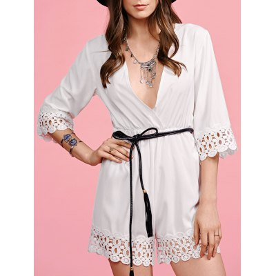 Plunging Neck Half Sleeve White Lace Splice Playsuit