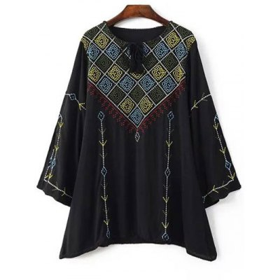Round Neck Long Sleeve Embroidery Blouse