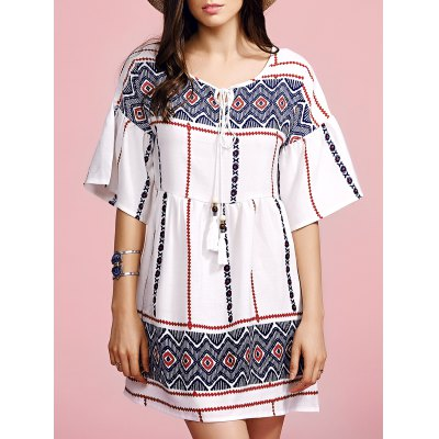 Round Neck Flare Sleeve Ethnic Style Printed Dress