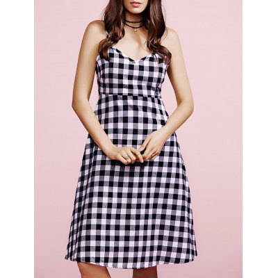 Casual Gingham Check Women's Cami Dress