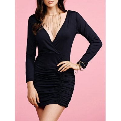 Plunging Neck Long Sleeve Black Fitted Dress