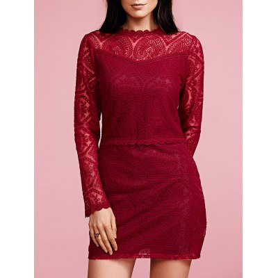 Ruffled Long Sleeve Solid Color Lace Dress