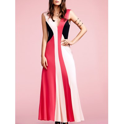 Plunging Neck Sleeveless Color Block Maxi Dress