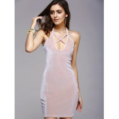Charming Hollow Out Strappy Pure Color Skinny Women's Dress