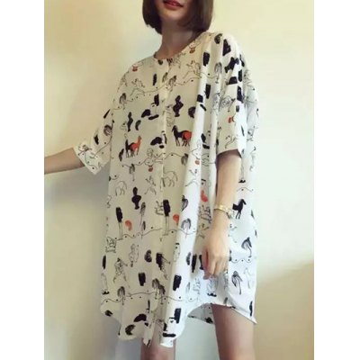 Stylish Round Neck Half Sleeve Horse Print Women's Dress