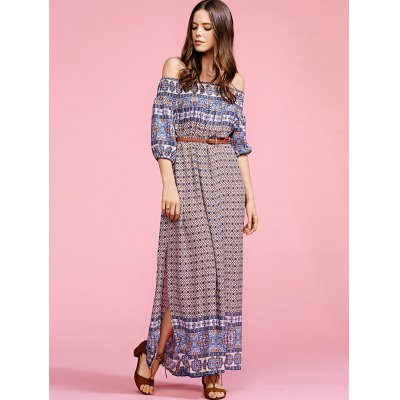 Stylish Off The Shoulder Half Sleeve Ethnic Print Women's Maxi Dress