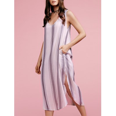 Plunging Neck Sleeveless High Slit Striped Dress